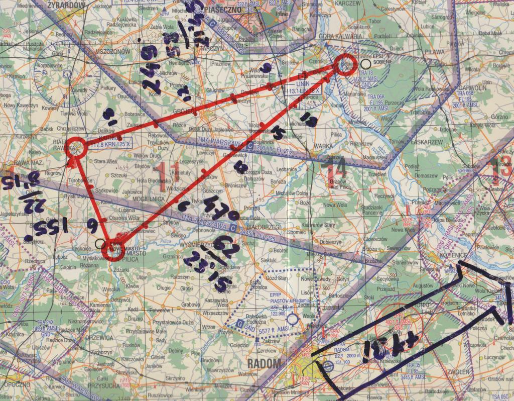 Mapa z naniesioną trasą lotu