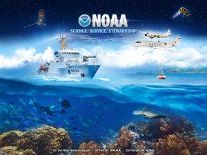 NOAA - obrazek ze statkiem, morzem, samolotem